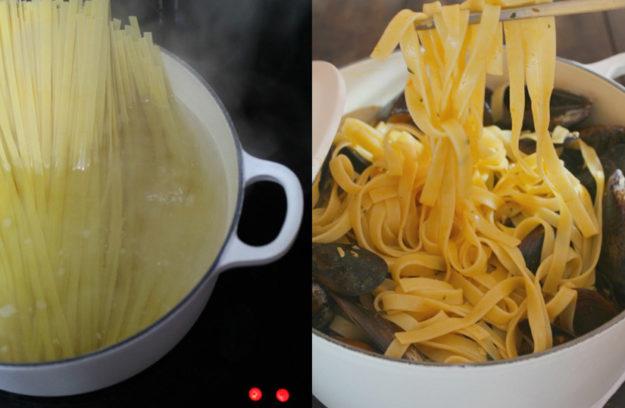 Receta de tagliatelle a la marinera cocinada en cocotte lecuine - Cocinar en cocotte ...