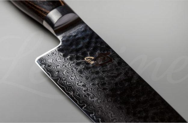 Detalle del acero damasco del modelo Shun