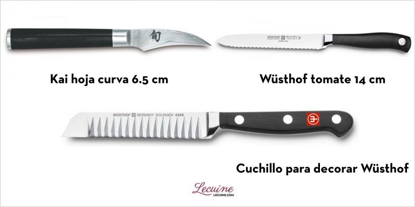 Cuchillo decoración, tomate y hoja curva