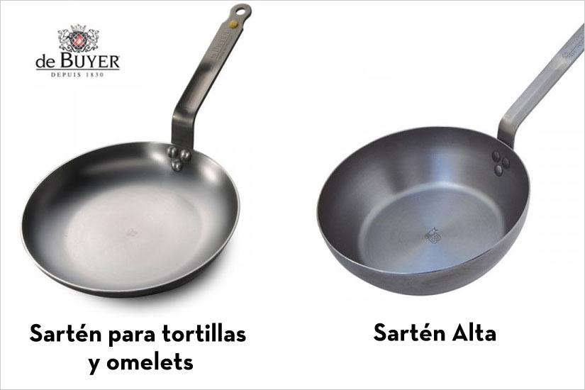 Sartenes tortillas altas y bajas