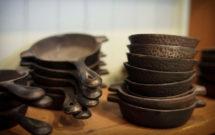 sartenes de hierro fundido antiguas de Lodge