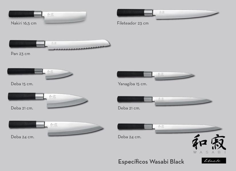 Cuchillos kai wasabi black la serie m s vendida de kai for Clases de cuchillos de mesa