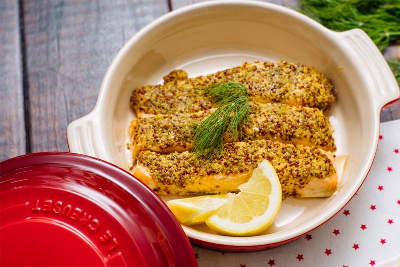 Detalle Salmón al horno con miel y mostaza