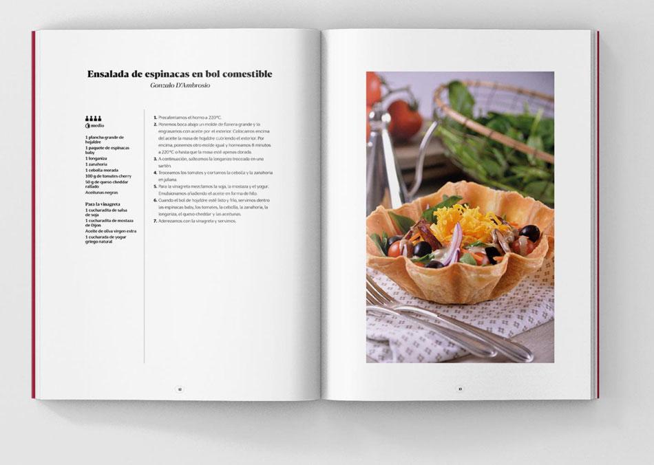 Detalle del interior del libro 20 años saboreando juntos de Canal Cocina