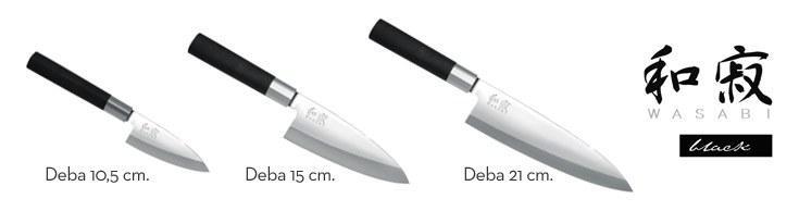 Cuchillos Deba de la serie Wasabi Black de Kai