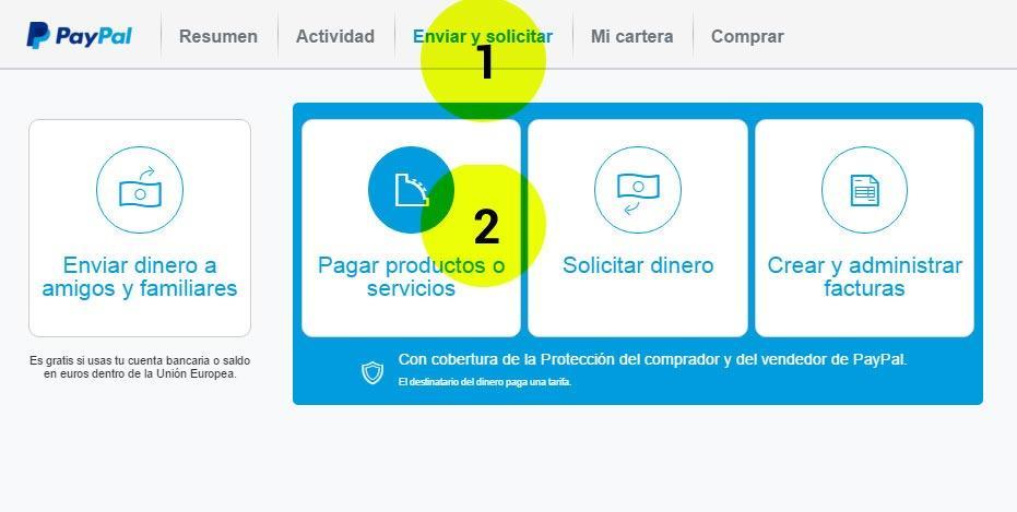 Paso 1 y 2 Paypal