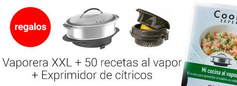 Regalo Cesta de vapor XXL, libro de 50 recetas para cocinar al vapor y Exprimidor de cítricos
