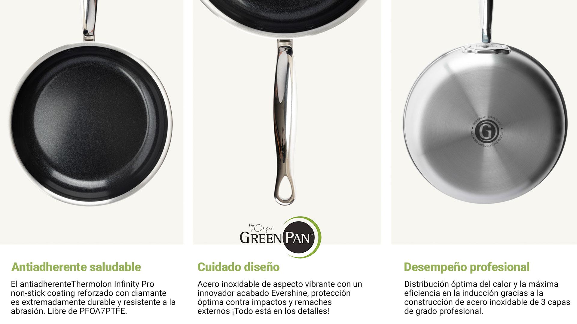Características de sartenes Green Pan Premiere en lecuine